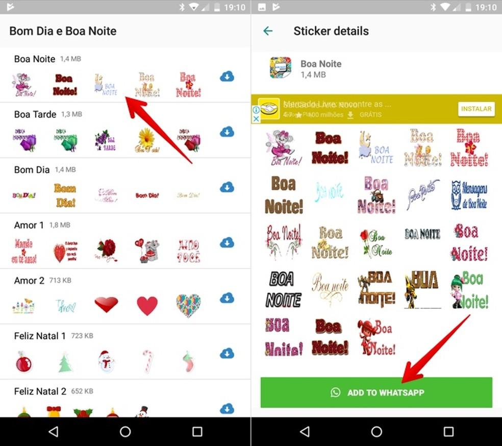 Instale figurinhas de boa noite no WhatsApp com o app Stickers Bom Dia e Boa Noite — Foto: Reprodução/Helito Beggiora