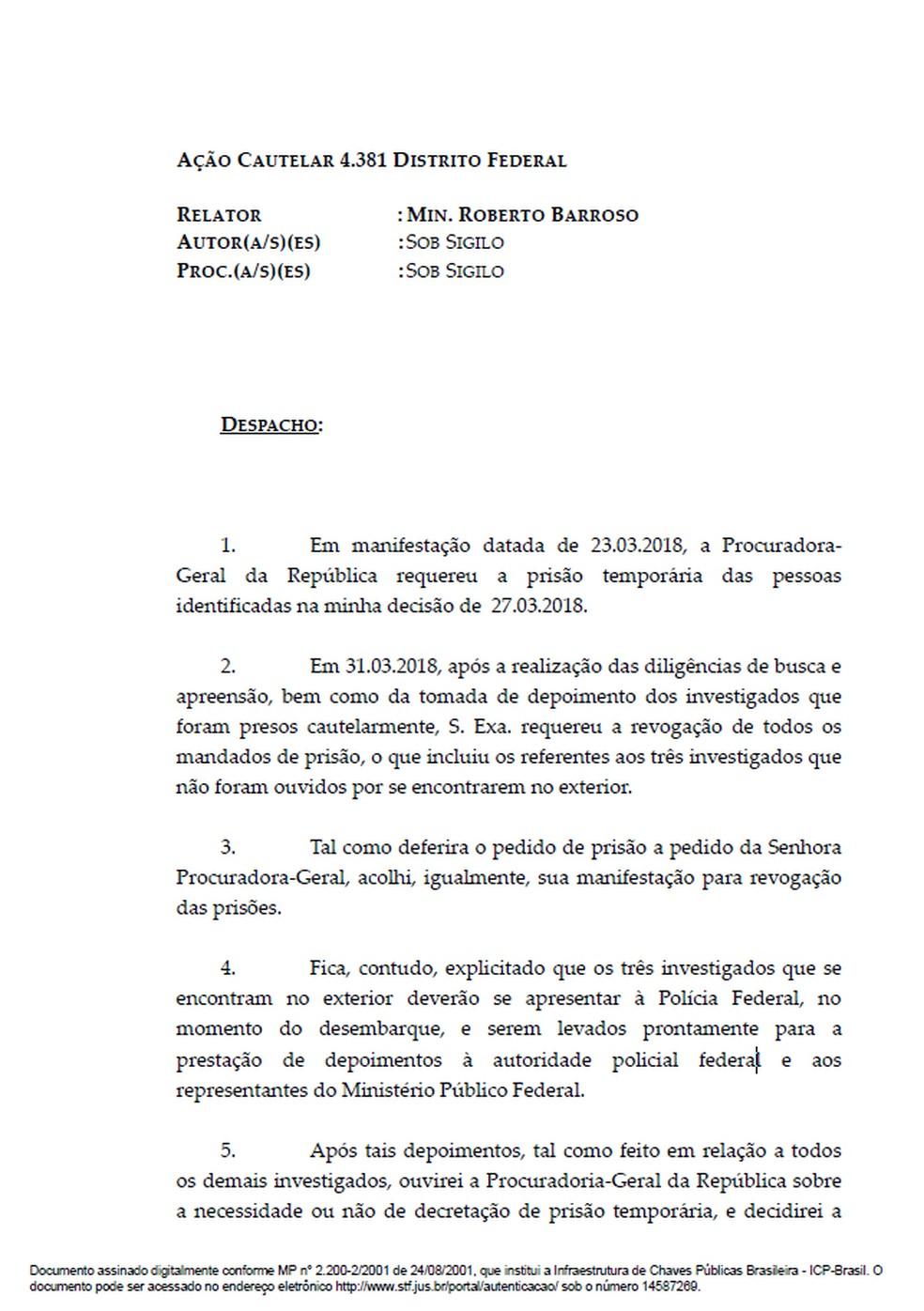 Em despacho, o ministro Luís Roberto Barroso, do STF, determinou que sócios do Grupo Libra se apresentem à PF para prestarem depoimento (Foto: Reprodução/STF)