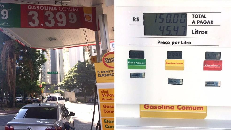 Posto da Zona Sul de SP muda preço de gasolina e etanol na faixa, mas mantém na bomba (Foto: Aldieres Batista/G1)