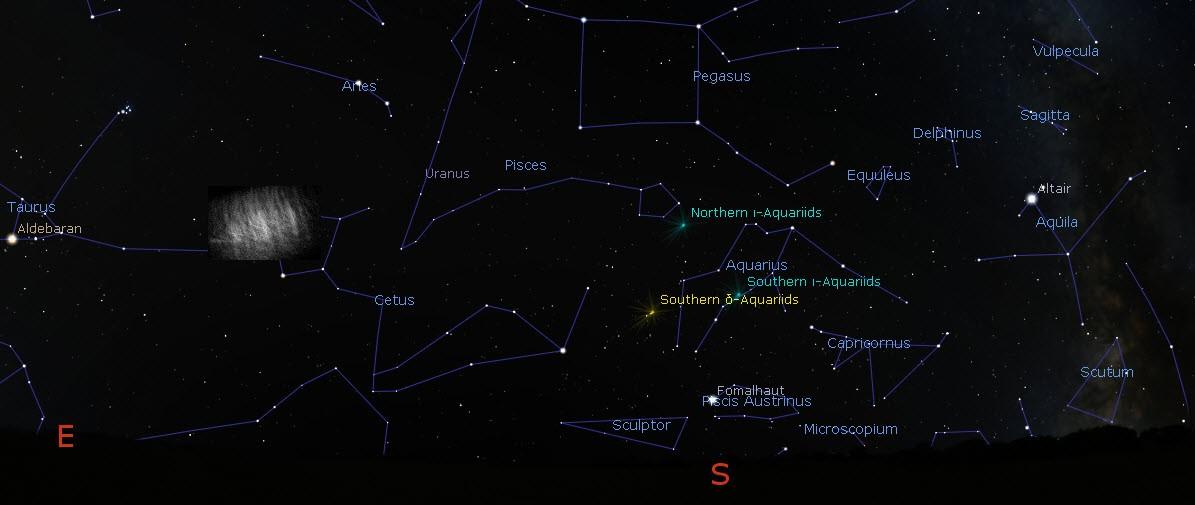 Ilustração da nuvem de Kordylewski no céu noturno (com seu brilho bastante aprimorado) no momento das observações. (Foto: G. Horváth)
