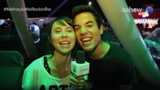 Daphne Bozaski e Bruno Gadiol vivem momento radical na tirolesa do Rock in Rio