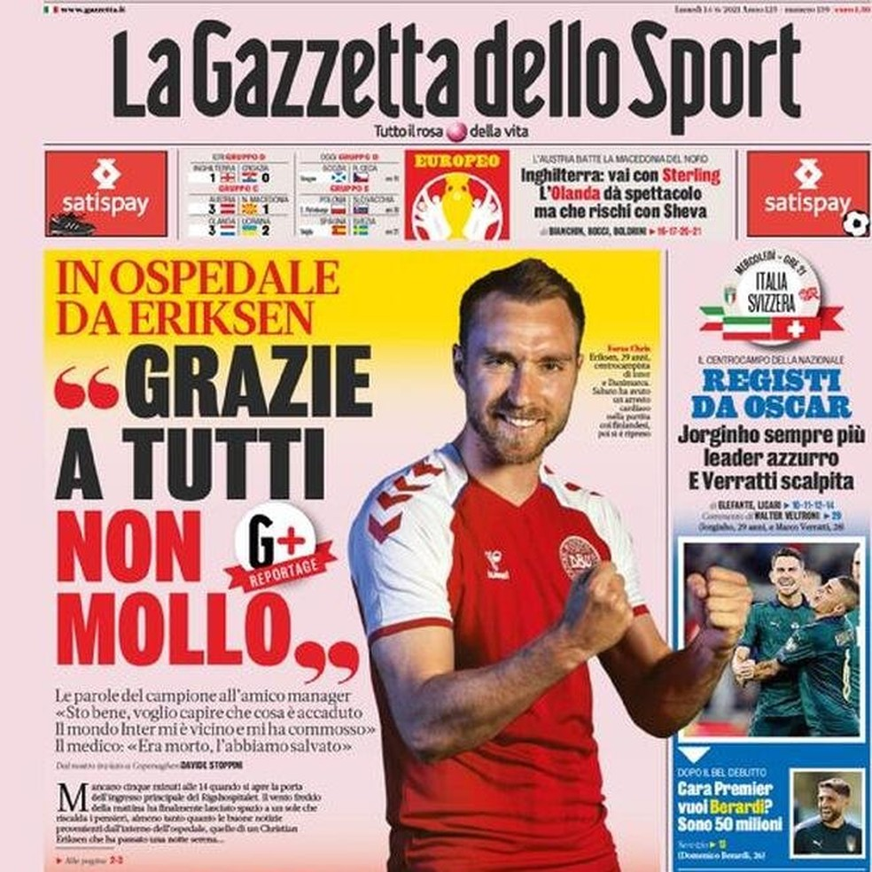 """Gazzetta dello Sport registra mensagens de Eriksen para o empresário: """"Obrigado a todos. Não vou desistir"""" — Foto: Reprodução/Gazzetta dello Sport"""