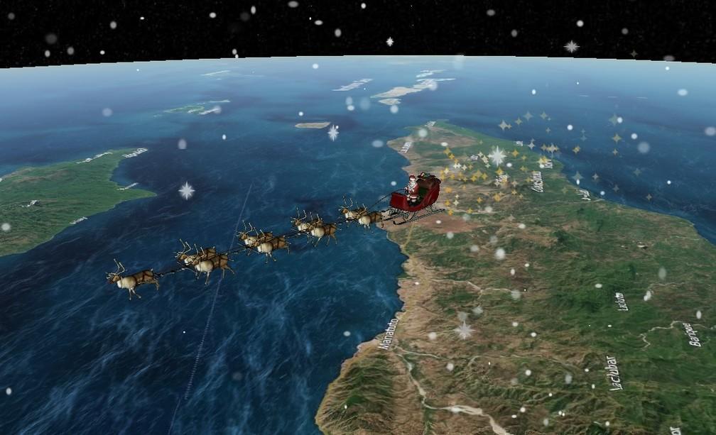 """Papai Noel tem seus """"passos"""" seguidos ao vivo pelo site Norad — Foto: Reprodução/Norad"""