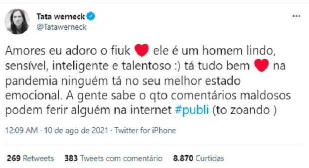 Tata Werneck comenta gravação com Fiuk para nova temporada do Lady Night (Foto: Reprodução/Twitter)