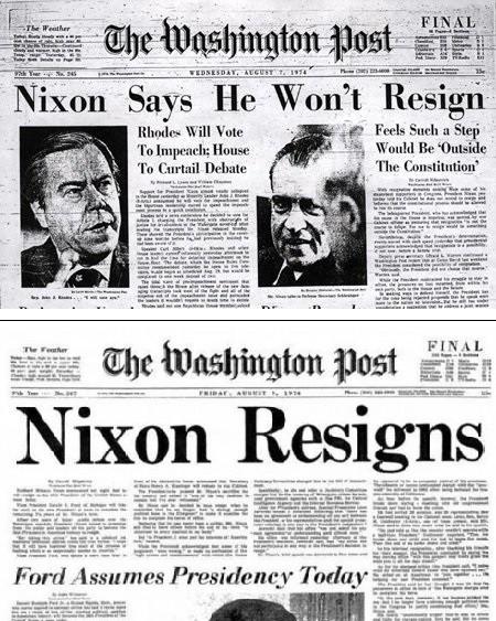 """Reproduções de trechos das duas capas do """"Washington Post"""""""