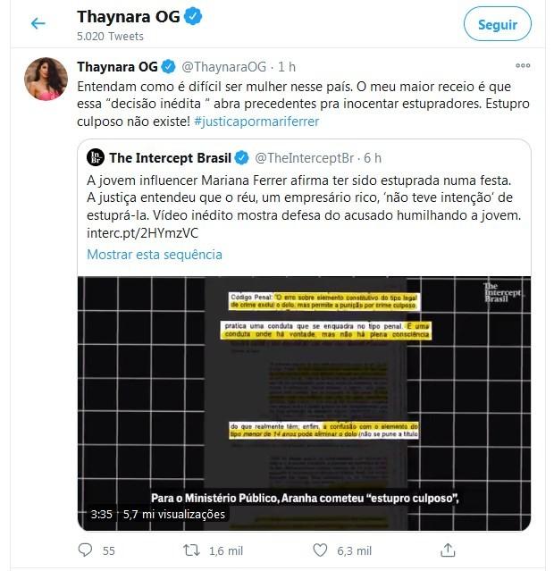 Thaynara OG posta sobre Mariana Ferrer (Foto: Reprodução/Twitter)