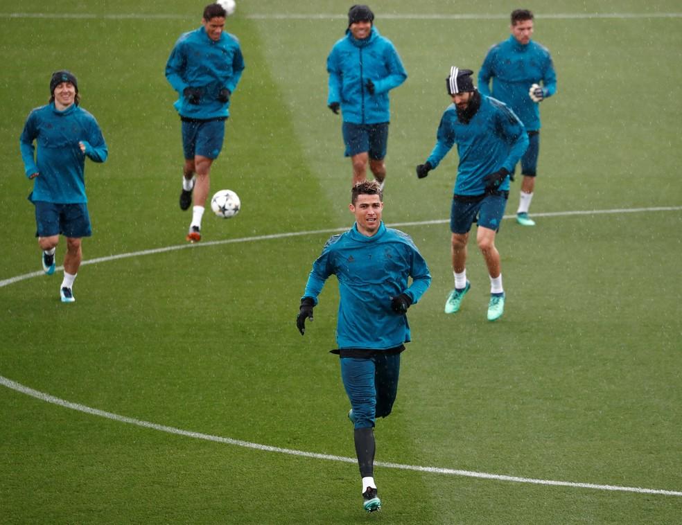 Imagem do último treino do Real Madrid antes da partida (Foto: REUTERS/Sergio Perez)