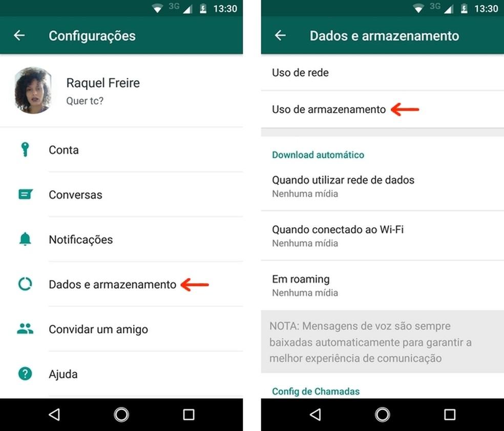 Menu de uso de dados e armazenamento do WhatsApp para Android (Foto: Reprodução/Raquel Freire)