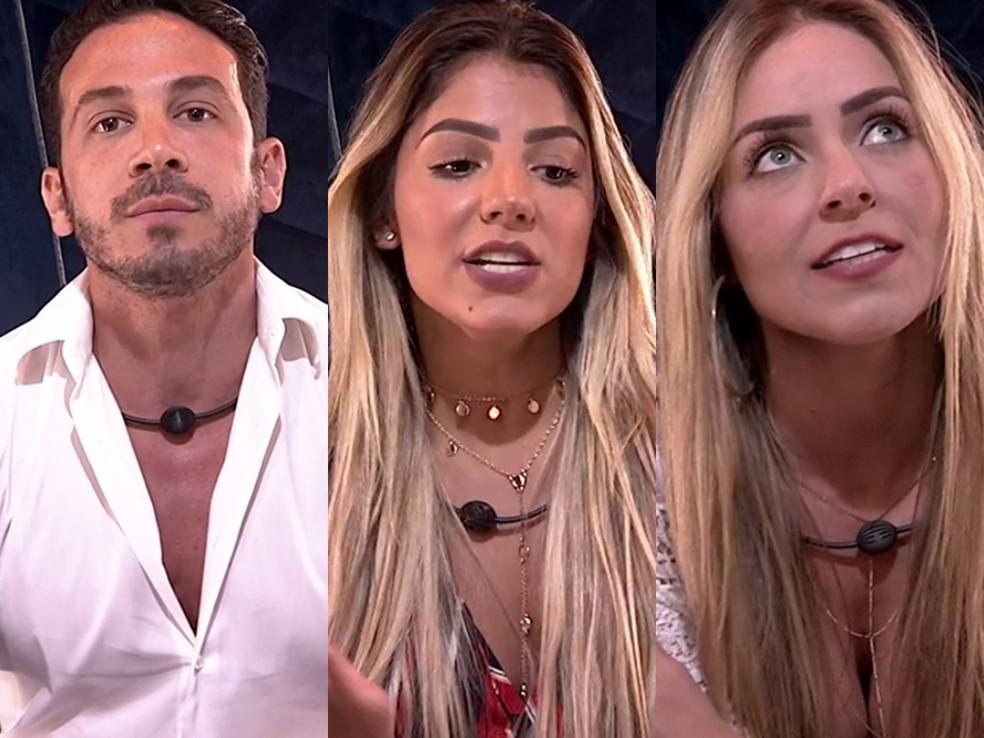 Gustavo, Hariany e Paula estão no Paredão — Foto: TV Globo
