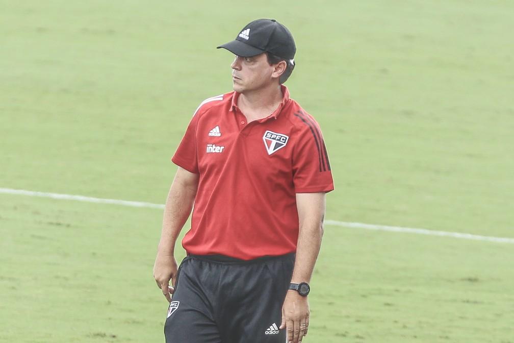 Fernando Diniz, técnico do São Paulo, no jogo contra o Atlético-GO — Foto: MARCOS SOUZA/NASCIMENTOSOUZAPRESS/ESTADÃO CONTEÚDO