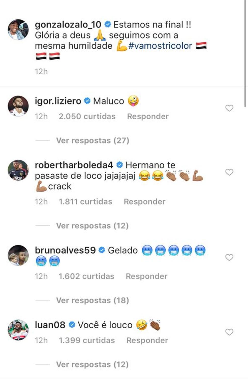 Jogadores  comentam na foto de Carneiro — Foto: Reprodução
