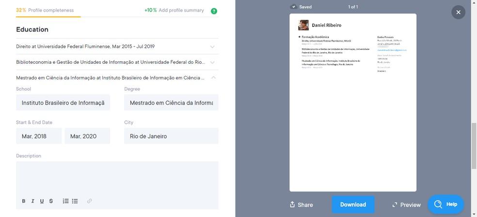 Com uma interface moderna e dinâmica, o Resume.io indica a porcentagem de informação do currículo — Foto: Reprodução/Daniel Ribeiro