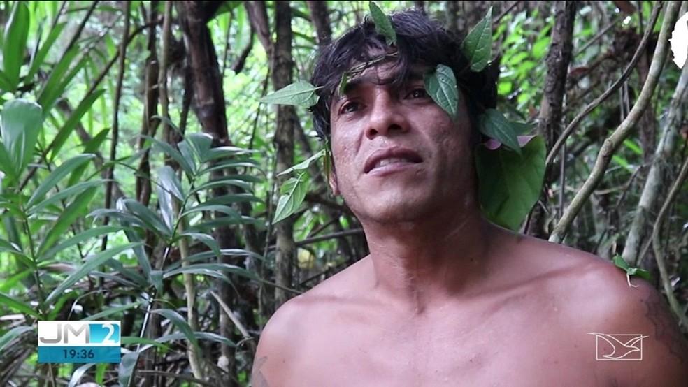 Laércio Guajajara, um dos líderes de grupos de 'Guardiões da Floresta' no Maranhão — Foto: Reprodução/TV Mirante