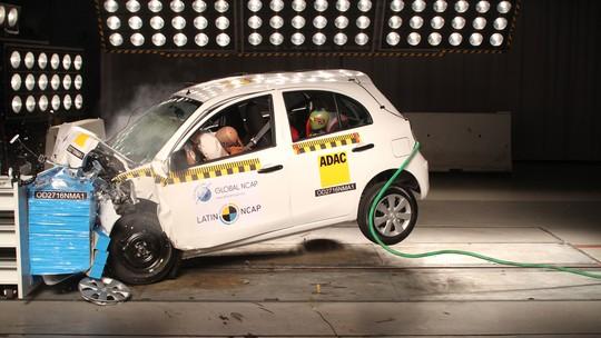 Nissan March recebe 1 estrela em teste de colisão do Latin NCap