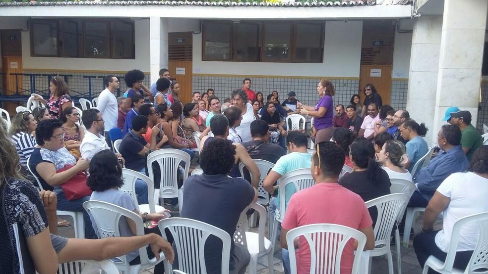 Professores da rede estadual de ensino do RN entraram em greve (Foto: Sérgio Henrique Santos/Inter TV Cabugi)