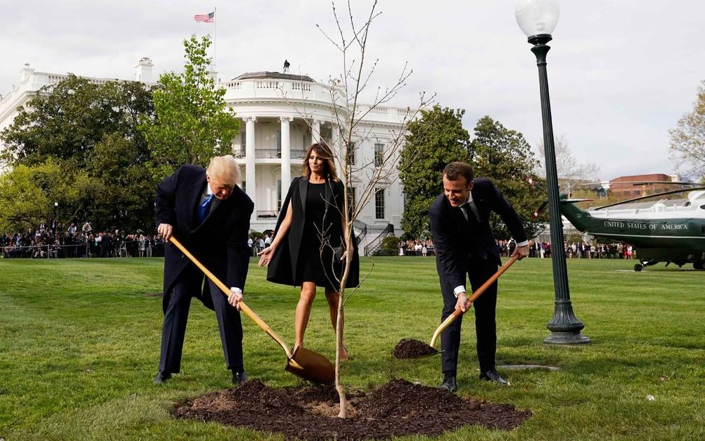 Os presidentes dos EUA e da França, Donald Trump e Emmanuel Macron, plantam árvore de carvalho em jardim da Casa Branca, observados pela primeira-dama americana Melania Trump, na segunda-feira (23) (Foto: Reuters/Joshua Roberts)