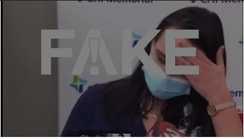 É #FAKE que enfermeira morreu no Tennessee após tomar vacina contra Covid-19 e desmaiar em público — Foto: Reprodução