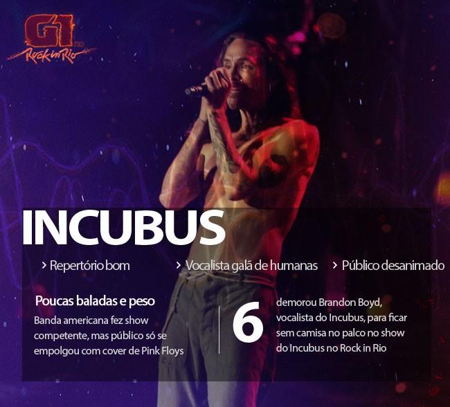 Incubus faz bom show com vocal 'galã de humanas' e cover de Pink Floyd para público desanimado
