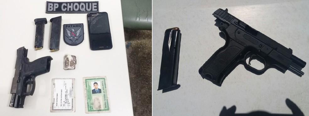 Pistolas calibre 380 e 9 milímetros, além de uma pequena porção de drogas foram apreendidas (Foto: Divulgação/PM)