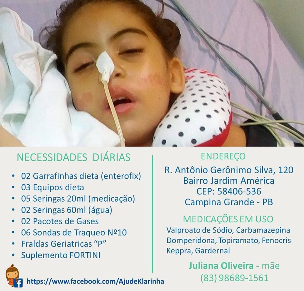 Campanha pede doações de itens necessários para sobrevivência de Ana Klara (Foto: Juliana Oliveira/Arquivo Pessoal)
