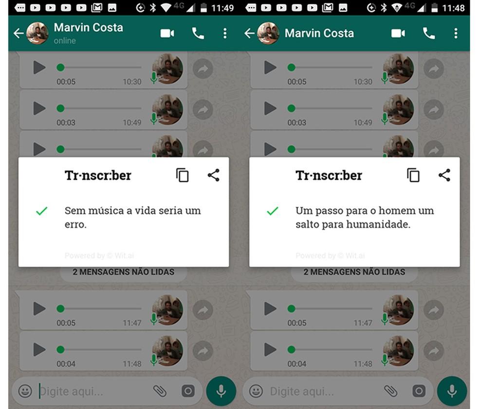 Transcriber for Whatsapp transforma mensagens de voz em texto (Foto: Reprodução/Marvin Costa)