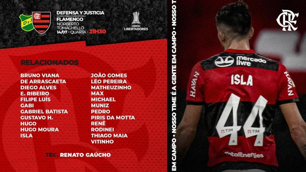 Relacionados do Flamengo para jogo contra Defensa y Justicia — Foto: Divulgação