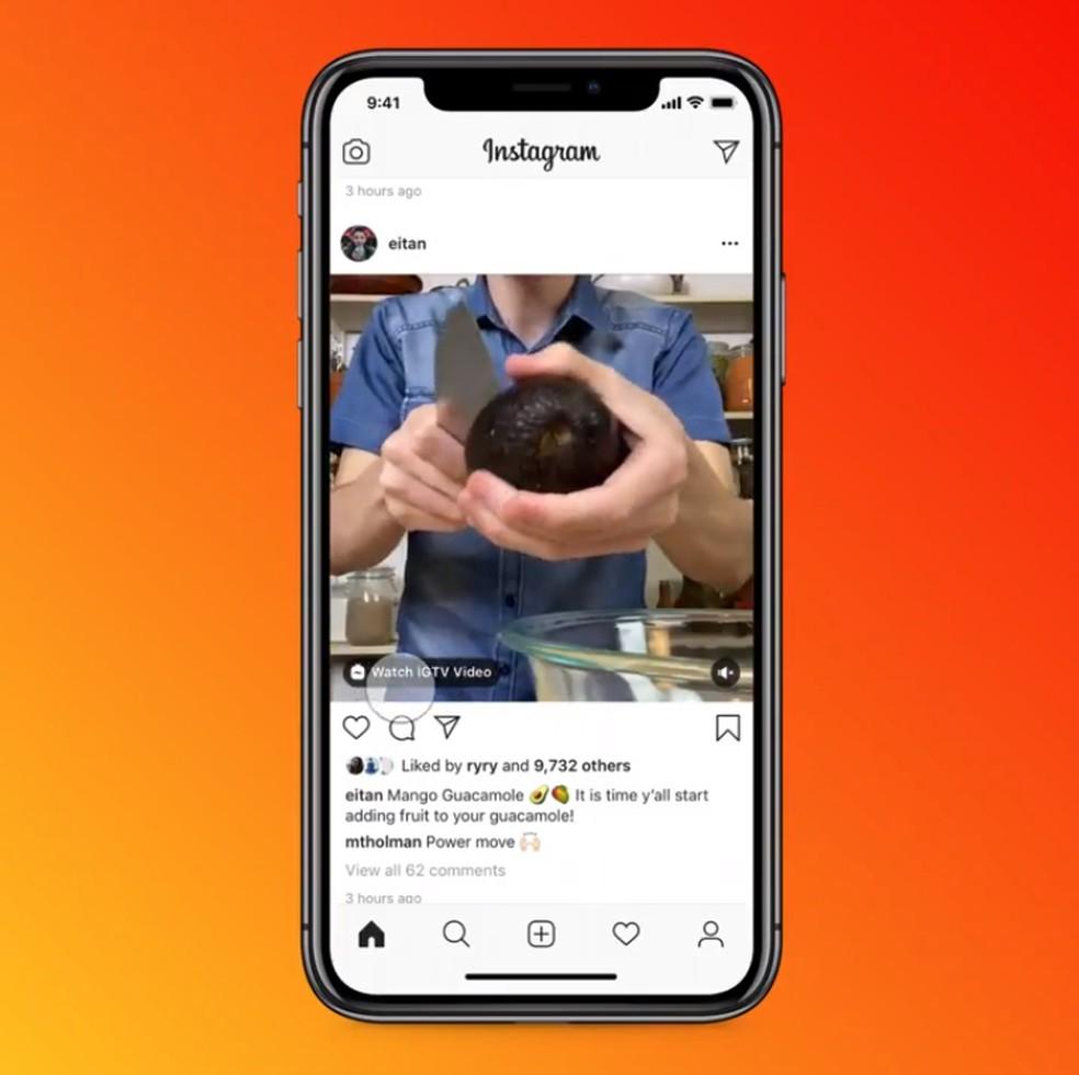 Instagram mostrará anúncios ao abrir vídeos do IGTV a partir de prévias do feed — Foto: Divulgação/Instagram