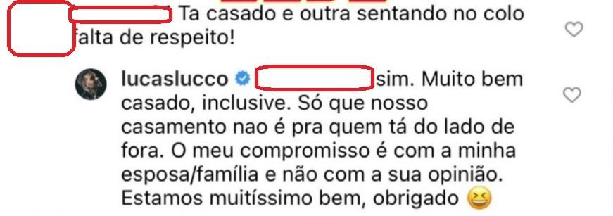 Luccas Lucco rebate seguidora que achou falta de respeito clipe com Flay (Foto: Reprodução Instagram)