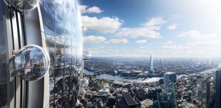 Visitantes poderão andar em cápsulas na parte externa do prédio (Foto: DIVULGAÇÃO/FOSTER + PARTNERS)