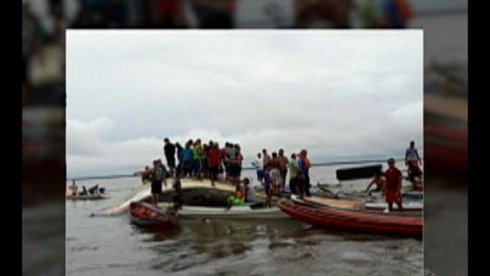 Embarcação naufraga após bater em casco de barco submerso, em Abaetetuba