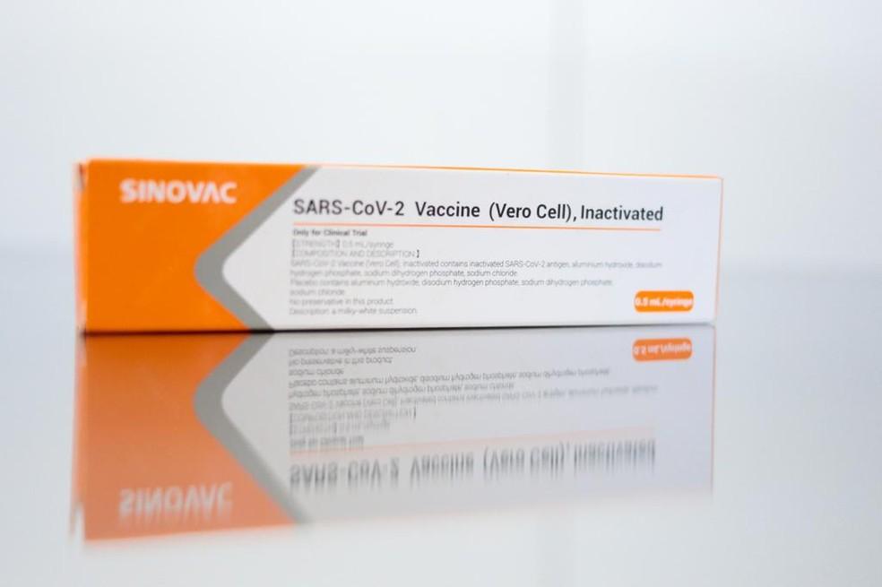 Embalagem da vacina Coronavac, da farmacêutica chinesa Sinovac, que será testada em 9 mil voluntários no Brasil — Foto: Divulgação/Governo de SP