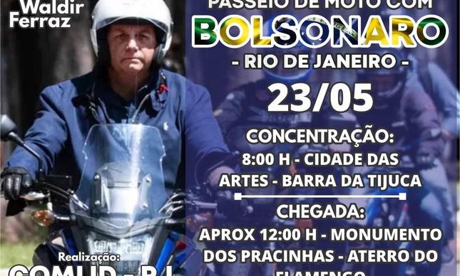 Chamada para passeio de moto com Bolsonaro