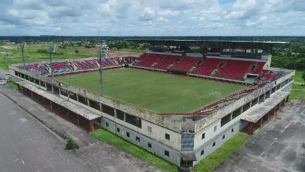 Arena da Floresta, em Rio Branco (AC), será palco do jogo de madrugada na primeira fase — Foto: Reprodução/Rede Amazônica Acre