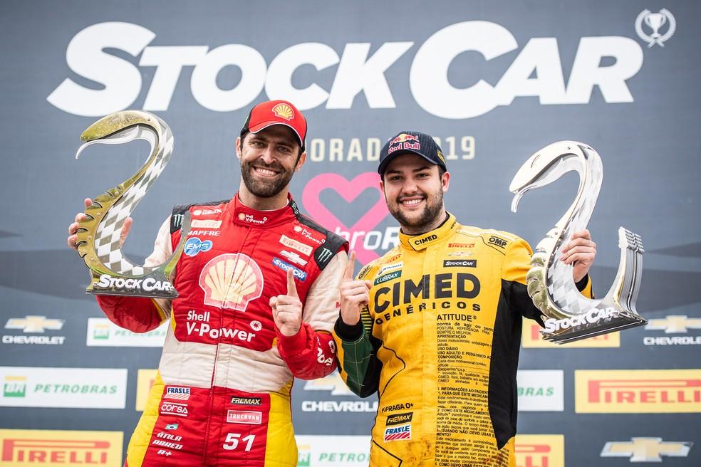 Átila Abreu e Felipe Fraga foram os vencedores das duas corridas da etapa Cascavel de Stock Car — Foto: Divulgação / José Mário Dias
