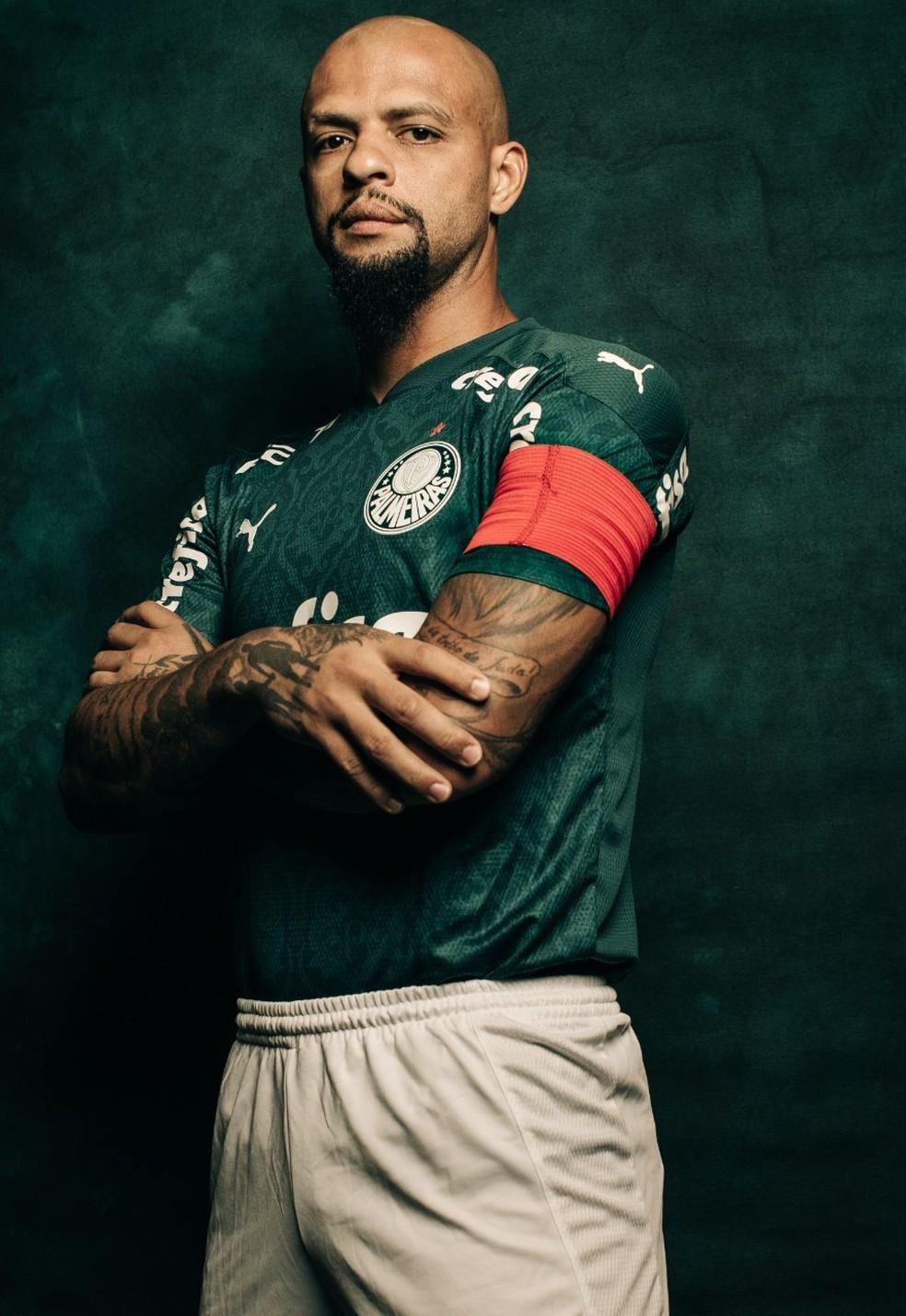 Felipe Melo, do Palmeiras, em ensaio especial para a Libertadores — Foto: Divulgação/CONMEBOL