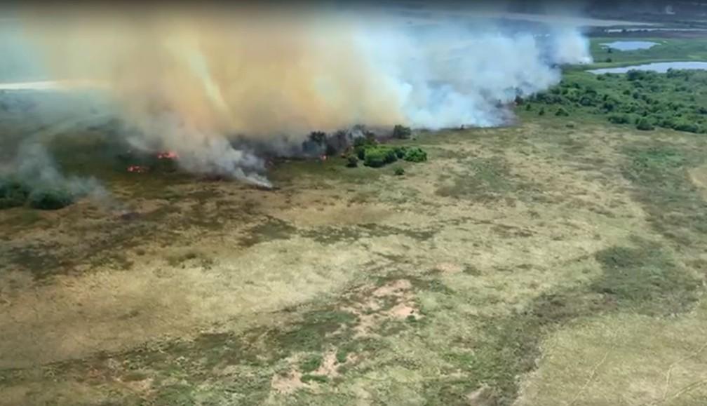 Queimada que ocorreu em 2020 próximo a ilha Ínsua onde vive a comunidade Guató    — Foto: Sesai/Divulgação