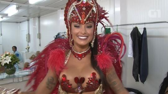 'Conheci uma pessoa legal', diz Aline Riscado, estreando no Salgueiro