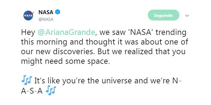 NASA responde Ariana Grande no Twitter (Foto: Reprodução/Twitter)