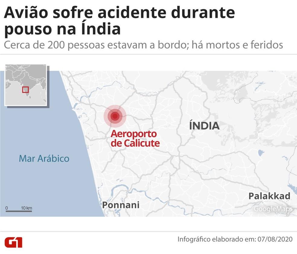 Mapa mostra local do acidente com avião na Índia — Foto: G1/Guilherme Pinheiro