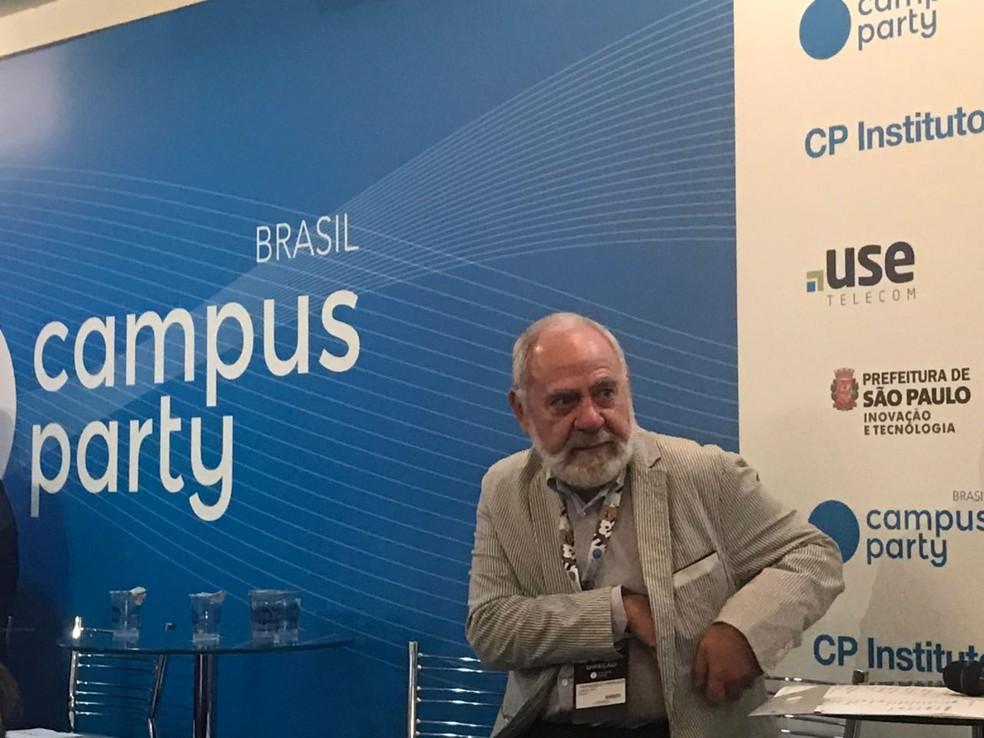 Francisco Farruggia, presidente do Instituto Campus Party, durante apresentação da programação 2018 (Foto: Helton Simões Gomes/ G1)