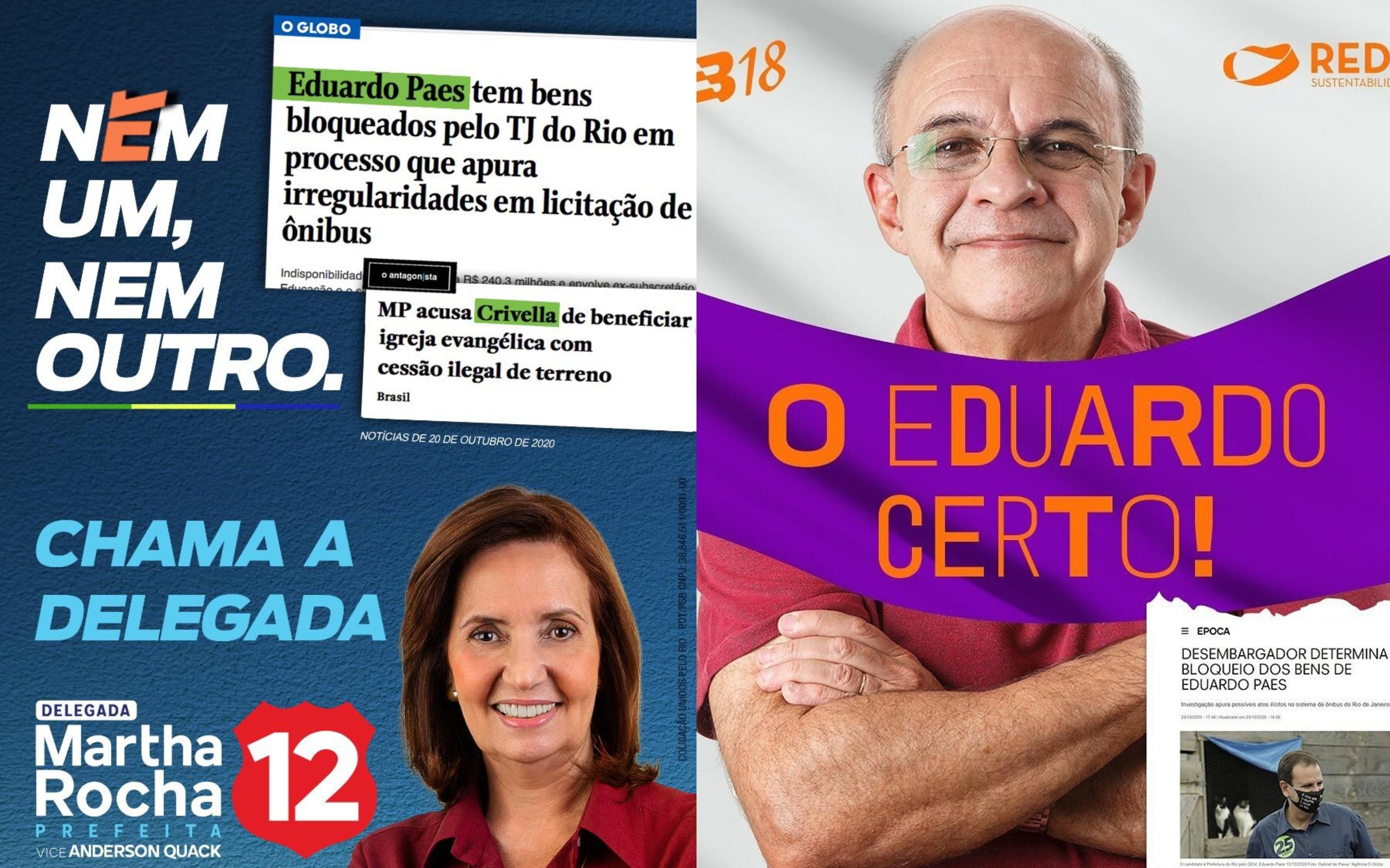 Martha Rocha e Bandeira de Mello em ação nas redes sociais