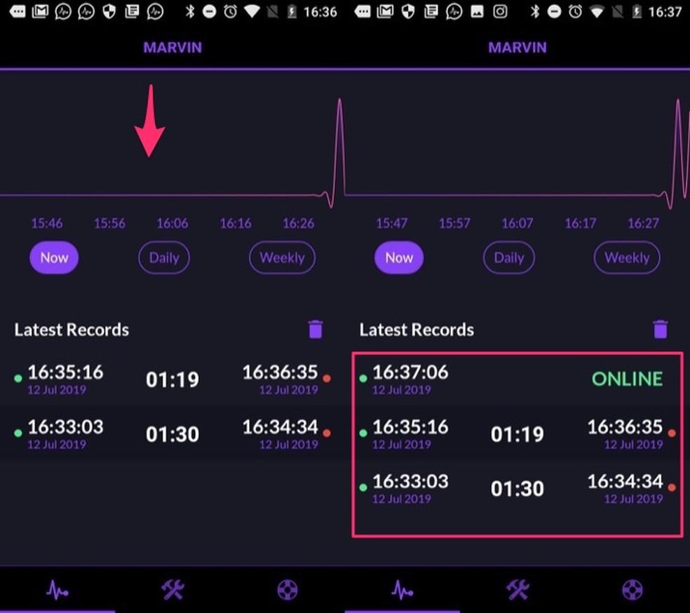 Tela como monitoramento de um contato do WhatsApp no aplicativo Rastreador on-line para WhatsApp — Foto: Reprodução/Marvin Costa