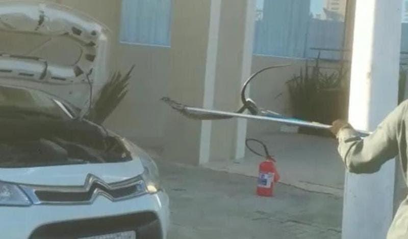 Bombeiros tiram roda de carro para resgatar cobra que ficou presa dentro de veículo em SC