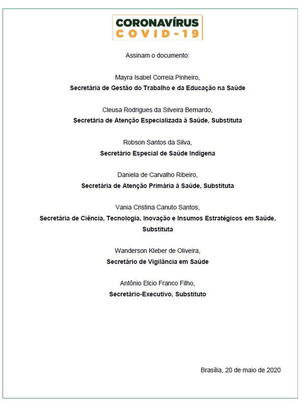 Em nova versão, secretários assinam documento sobre a cloroquina — Foto: Reprodução/Ministério da Saúde