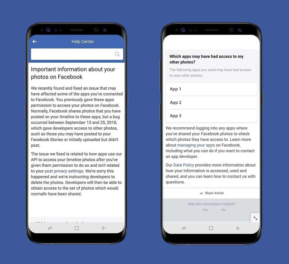 Exemplo de notificação que o Facebook exibirá a usuários afetados — Foto: Divulgação/Facebook