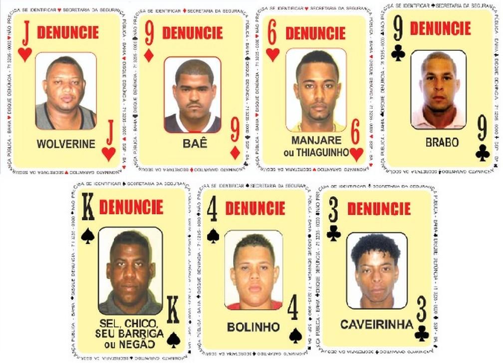 Novos integrantes do Baralho do Crime da Secretaria de Segurança Pública da Bahia — Foto: Divulgação/SSP