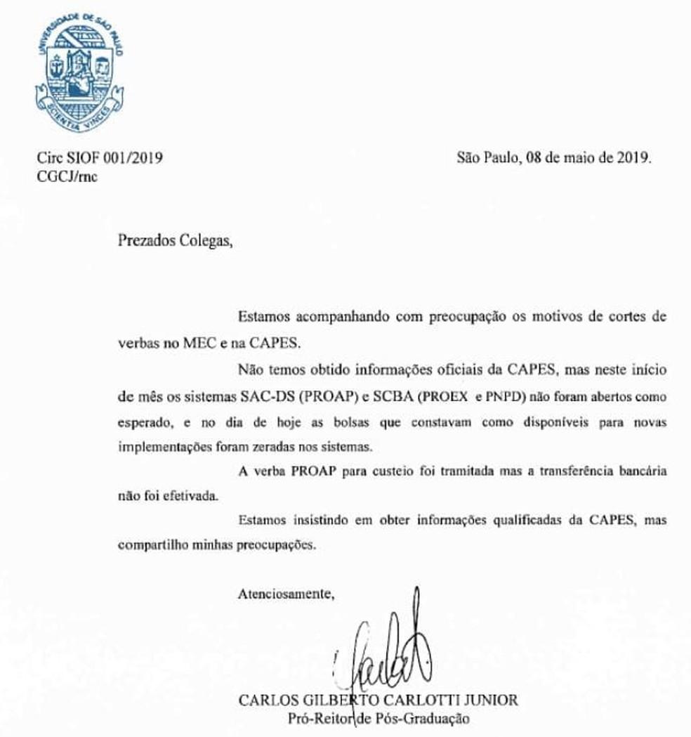 Carta do pró-reitor de pós-graduação da USP, Carlos Carlotti, sobre cortes no MEC e na Capes — Foto: Reprodução