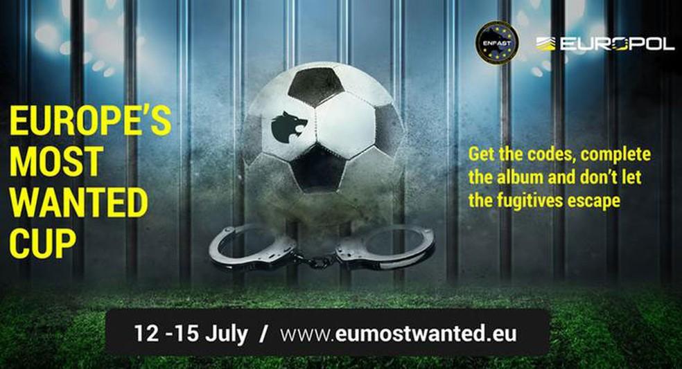 -    39;Copa dos Mais Procurados da Europa: pegue os códigos, complete o álbum e não deixe os fugitivos escaparem  39;  Foto: Reprodução/Europol