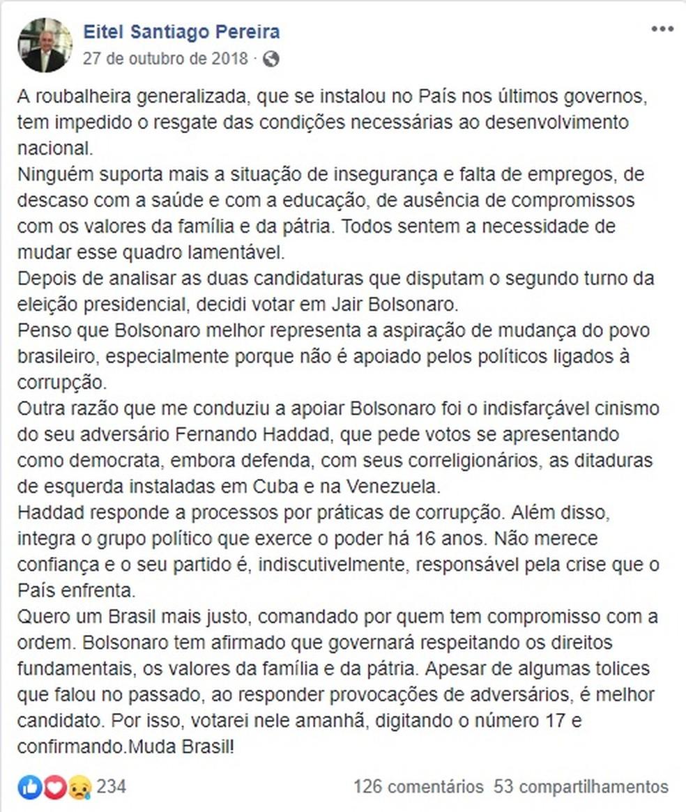 Em mensagem publicada em 27 de outubro de 2018, o subprocurador Eitel Santiago Pereira manifestou apoio a Jair Bolsonaro — Foto: Reprodução