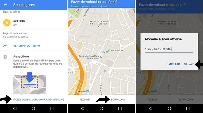 Processo de download do mapa no Google Maps (Foto: Reprodução/Raquel Freire)